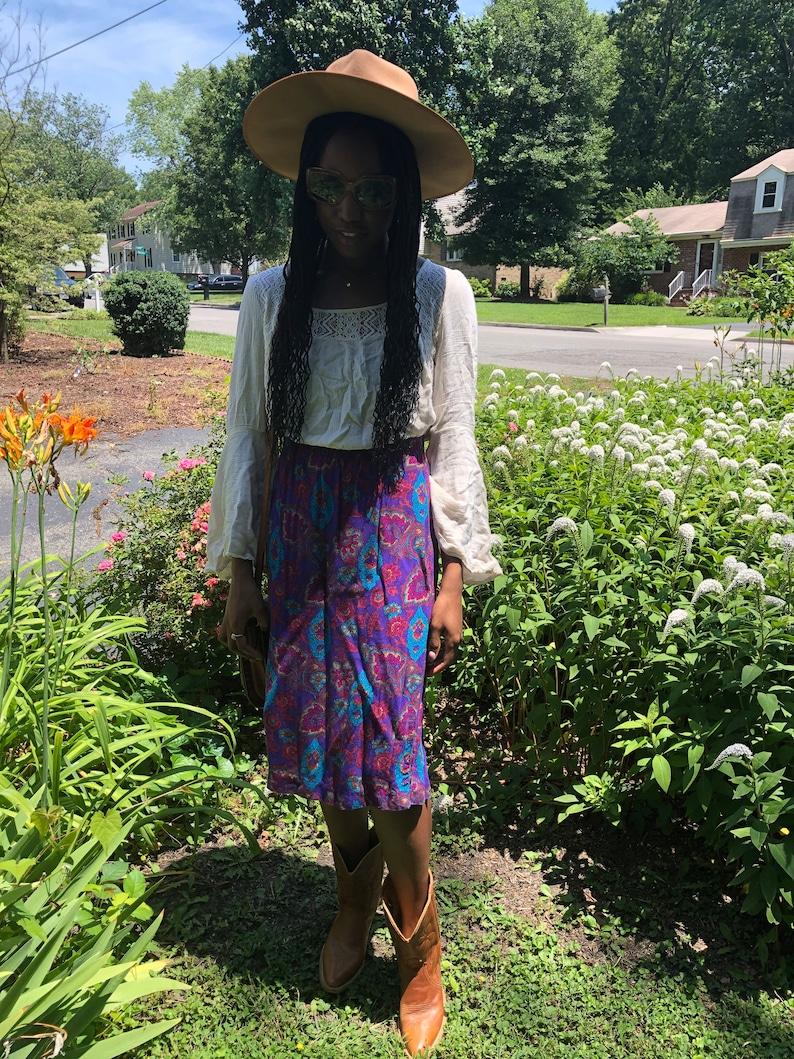 Vintage 70s paisley boho midi skirt