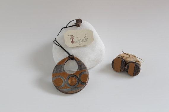 Ceramic JewelryHandmade artisan jewelrynecklace earrings setunique jewelryceramic artbohohippie styleunique set