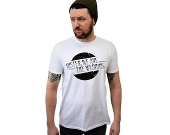 Mens Classic White T Shirt - Mister, We Are the Weirdos branded Tee, Graphic T Shirt, Retro Style, White Shirt Black Logo, Grunge Style
