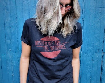 Mister, We Are the Weirdos Black Tee with Vintage Red Logo - Retro Style, Womens Streetwear, Womens Classic Black Tee, Cotton T Shirt, Women