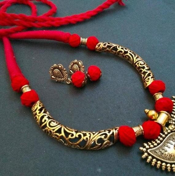 Necklace /& Earrings Silk Thread Jewellery Set Indian Bangles  Silk Thread Bangles