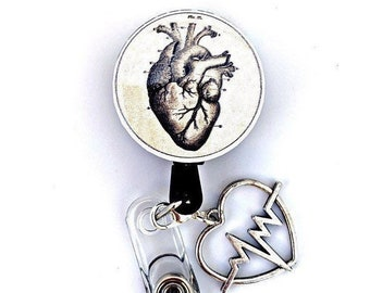 ID clip badge Reel floral heart-bright anatomical heart retractable badge holder for nurse//teacher