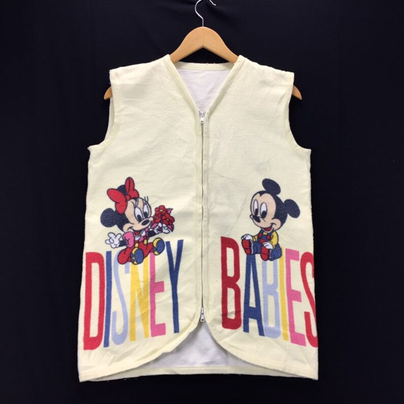 Hot Item ! Disney Babies Fleece Vest Sweater Full Zipper Big Logo Fashion Style