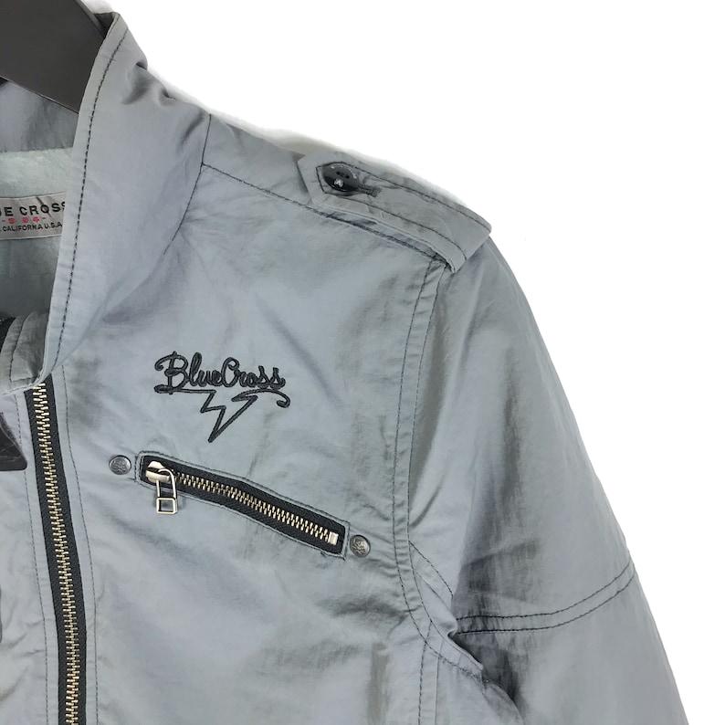 Vintage Japanese Brand Blue Cross Small Logo Full Zipper Street Fashion Rare Item !