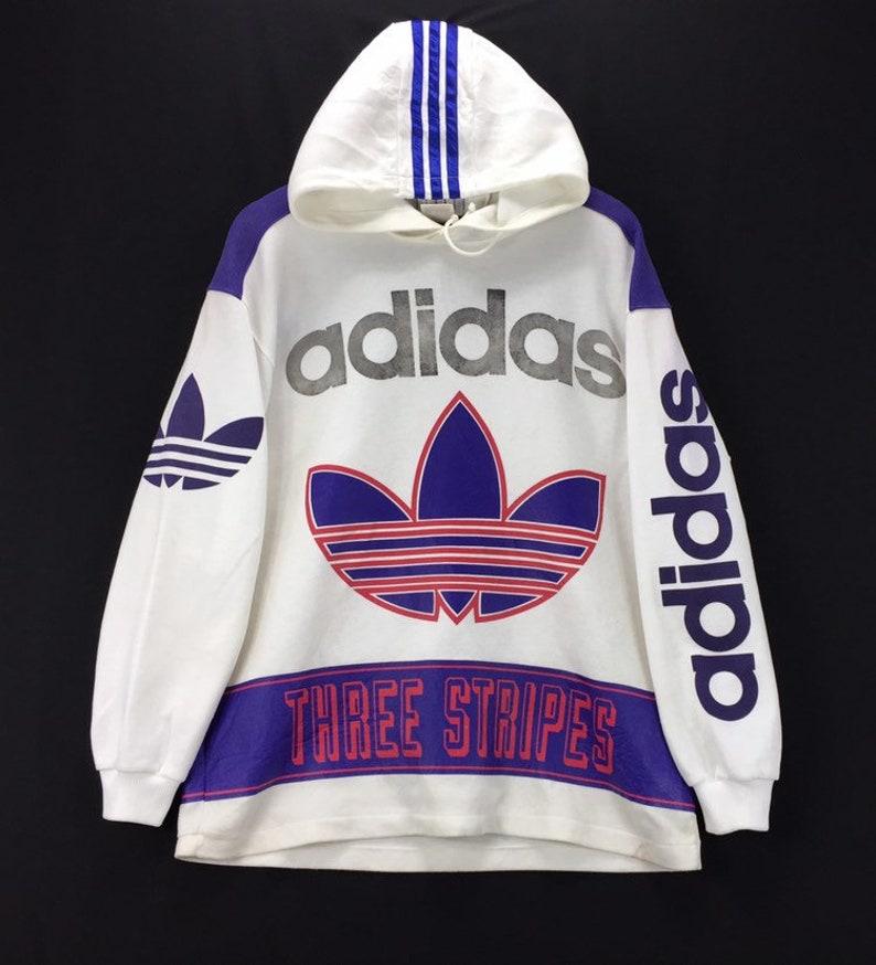 583679e7f29ec Vintage 90s ADIDAS TREFOIL Hoodie Three Stripe Big Logo Colorblock Jumper  Pullover Streetwear Rap Tees Big Spellout Fashion Style Streetwear