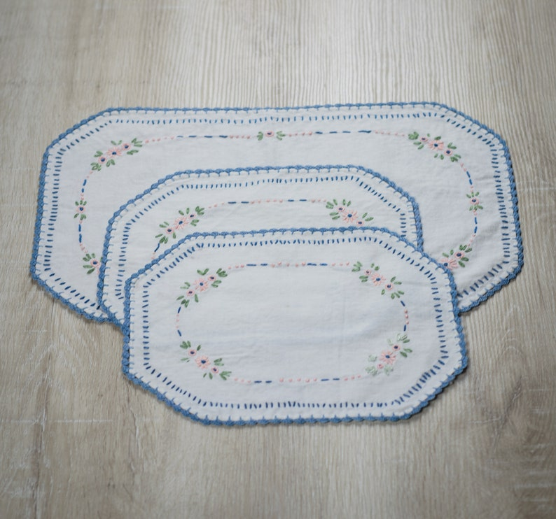Set of 3 Vintage Hand Embroidered Rectangular Table Linens image 0