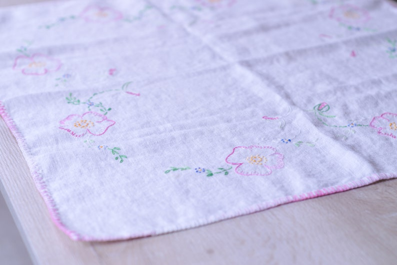 Square Vintage Embroidered Table Linen in White w/ Pink Floral image 0