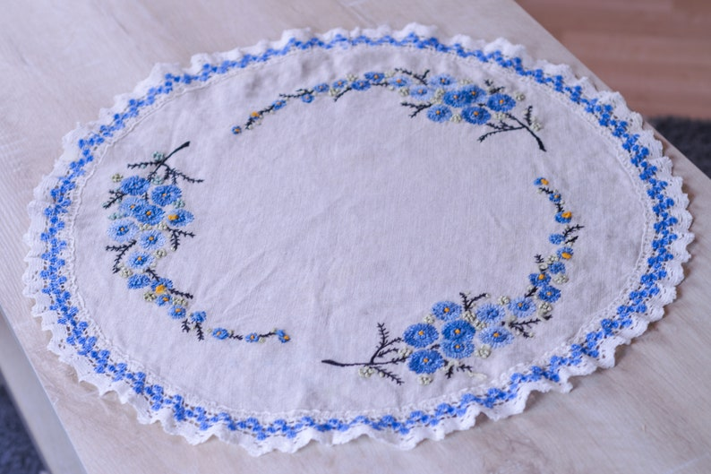 Vintage Round Embroidered Table Linen in Beige & Blue image 0