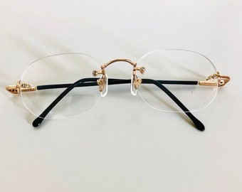 c18b23aac8 Vintage 90s Made Transparent Frame Rimless Clear Lens Deadstock Glasses