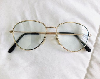 3abf80f673 Vintage 90s Made Gold Pilot Spectacle Glasses with Steel Frame and Clear  Lens