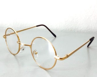 c9026839319 Actual Vintage Gold Clear Lens Circle Frame John Lennon Style Spectacle