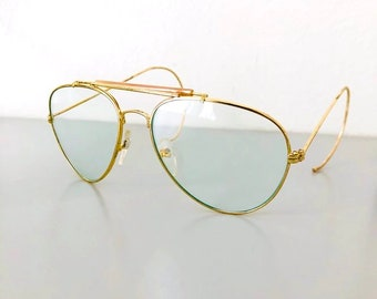 29015fc913 Authentic Vintage Gold Aviator Pilot Frame Clear Glass Lens Glasses