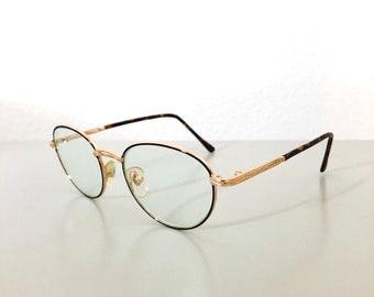 fdbadbec43 Vintage Rosewood Clear Lens Oval Steel Frame 90s Made Glasses with Glass  Lens