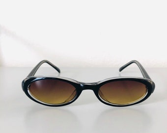 bfd104e224b Vintage 90s Made Dual Colored Green Transparent Oval Dead Stock Rare  Sunglasses with Dark Lens
