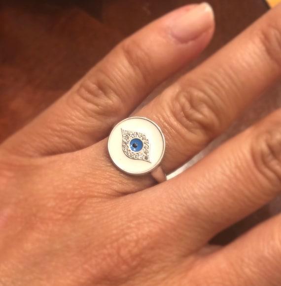 Vermeil Enamel Evil Eye Ring