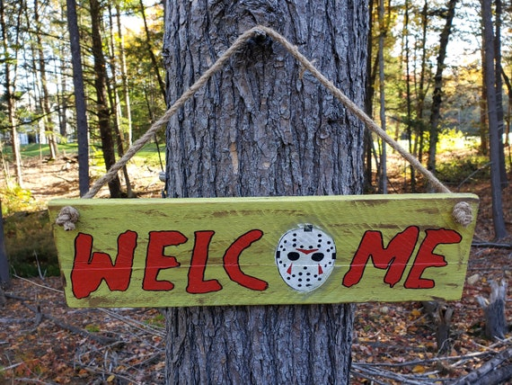 Welcome (Jason Voorhees Mask) Wood Sign