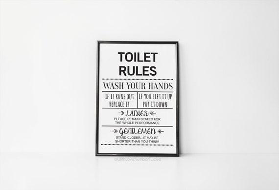 Toilet Rules Wall Art Print Etsy