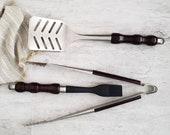 Grill Tool Gift Set with Custom Wood Handles, Heavy Duty Spatula, High Quality Tongs, Picnic Accessories, Chef or Cooks Gift