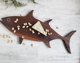 Serving Board Fish Shape, Coastal Fish Decor, Walnut Wood