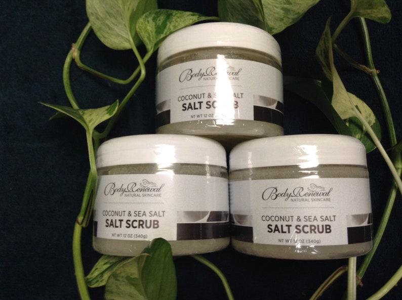 Natural Coconut and Sea Salt Scrub  Organic Body Scrub  image 0