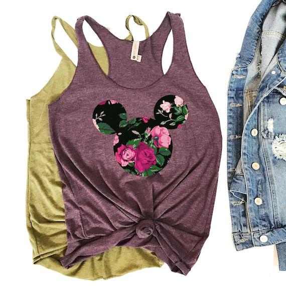 d1aed0e8d38a96 Mickey Flower Shirt Mickey Mouse Shirt Disney Womens Shirt