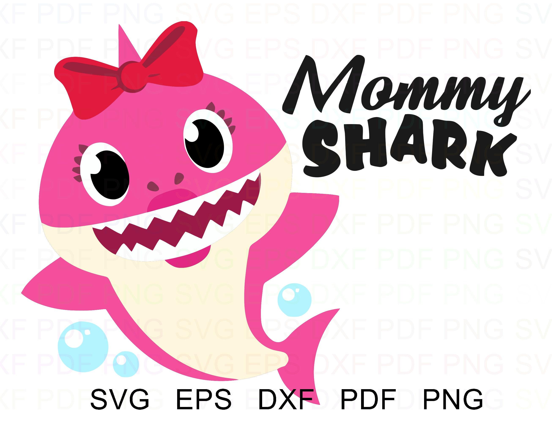 Mommy Shark With Bubbles Shark Family Vector Clipart Svg ...