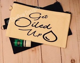Essential Oil Bag | Travel Size Canvas Essential Oil Bag with Zipper | Gift for Oil Lovers | Essential Oil Bag with Vinyl | Get Oiled Up