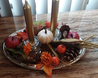 Fall center piece  candle holder