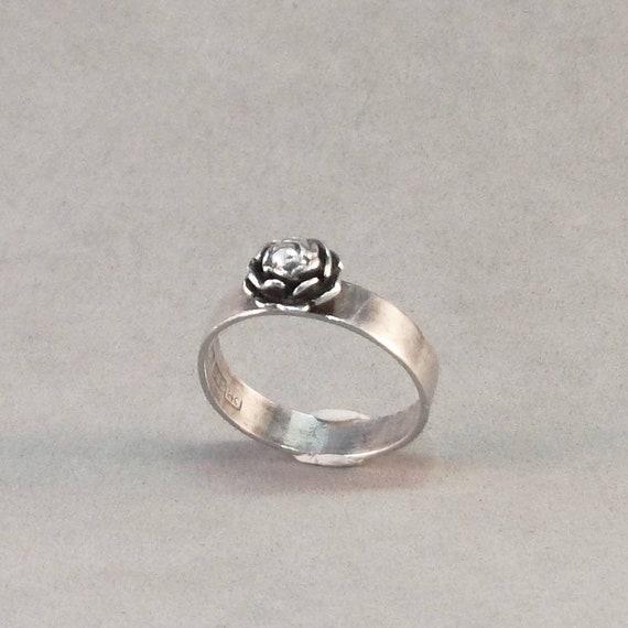 Vintage silver ring ring with flower peony bud Kultaseppa Salovaara