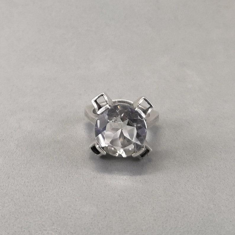 Klintz AB Scandinavian modernist  brutalist ring with diamond cut rock crystal  quartz 1976 Vintage silver ring