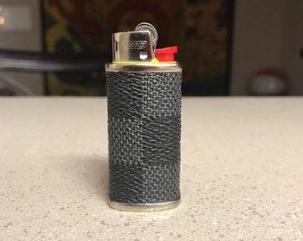0223e3aa3cf Handmade Custom LV Leather Inspired Black Damier MINI BIC Lighter Case