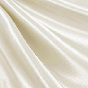 Dull Crushed Bichon Satin Fabric By The Yard Craft Sewing Ivory 50-54 Polyester Wedding Dress