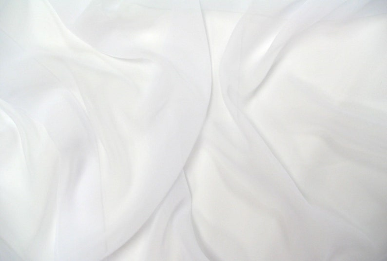 White Chiffon Light to Meduim Weight Fabric by the Yard Made image 0