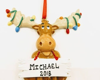 personalized christmas moose ornament free personalization and free gift bag
