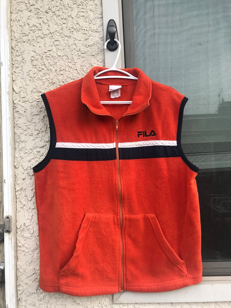 8a801df47232 Vintage FILA Fleece orange SIZE M | Etsy