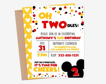 Oh Twodles Invitation Mickey Mouse 2nd Birthday Invitations