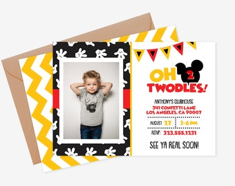 Oh Twodles Invitation Invite Mickey Mouse 2nd Birthday Printable