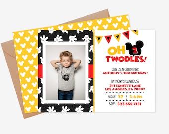 Mickey Mouse 2nd Birthday Invitation Etsy