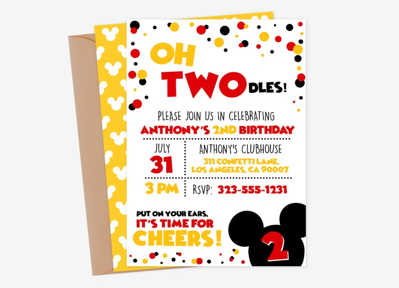 Oh Twodles Invitation Mickey Mouse 2nd Birthday