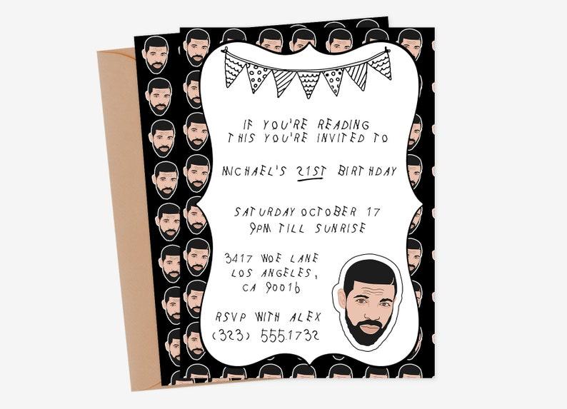 Drake Party Invitation Drake Party Drake Party Invite Drake image 0