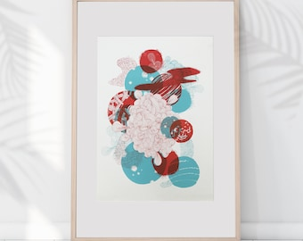 AFFICHE SCREENOGRAPHY A3 -planets, cosmos, galaxy , graphic - SILKSCREEN poster A3 cosmos galaxy graphic planets
