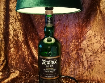 Ardbeg AN OA Islay Single Malt Scotch Whisky, Lamp, Upcycling, Gift