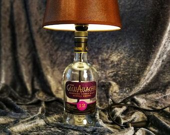 The GlenAllachie 12 years Speyside Single Malt Scotch Whisky, Lamp, Upcycling, Gift