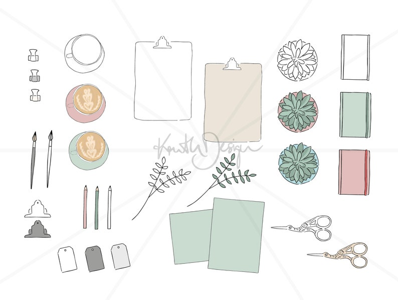 VECTOR ILLUSTRATION  Download Digital Clipart and Graphic Design for Social Media Flatlay Sketch illustrator file