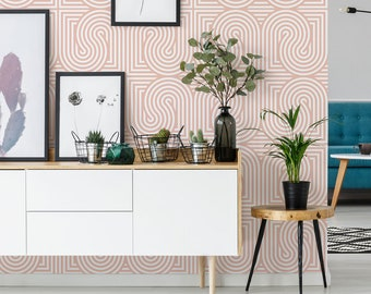 Seamless rounded lines removable wallpaper  / geometric self-adhesive wallpaper / pink and white retro peel and stick wallpaper