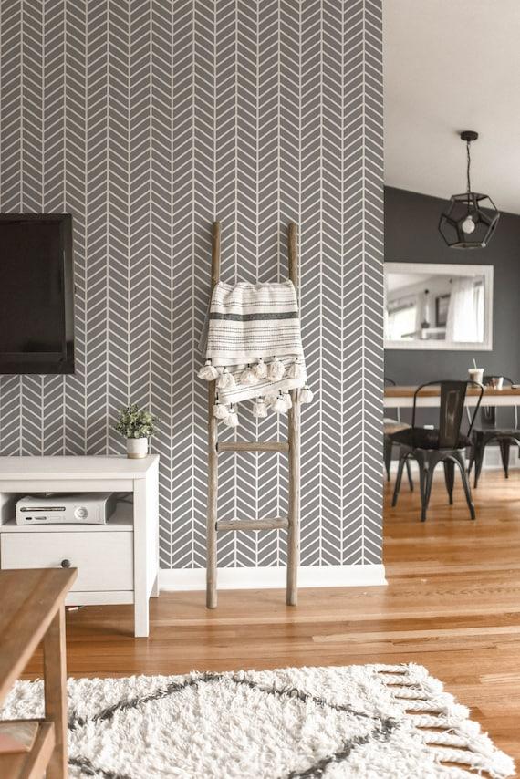 Herringbone Removable Wallpaper Geometric Peel And Stick Etsy