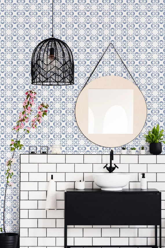 Blue And White Tile Removable Wallpaper Blue And White Etsy