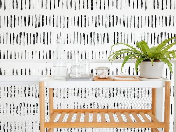 Brush Stroke Removable Wallpaper Design Black And White Etsy