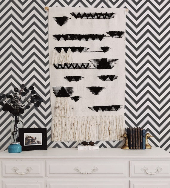 Black And White Chevron Removable Wallpaper Geometric Etsy