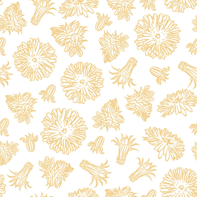 Yellow and white dandelion peel and stick wallpaper /   Etsy